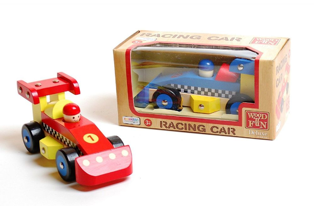 Deluxe Wood Children's Racing Car Traditional Toy Age 3+